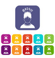man with different signs over his head icons set vector image vector image