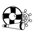 marine spyglass ship helm and lifebuoy vector image