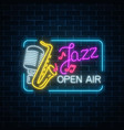 neon jazz festival banner with retro microphone vector image