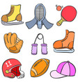 Object sport equipment doodle style vector image