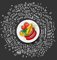 potatoes with vegetables and sausage on plate icon vector image vector image