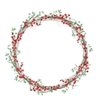Round Christmas wreath with holly branches