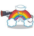 sailor with binocular colorful rainbow character vector image vector image