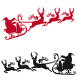 Santa with sleigh and reindeers vector image vector image