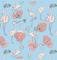 seamless flamingo and monstera leaves pattern vector image vector image
