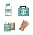 set first aid kit with treatment tools vector image vector image