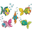 set funny fish vector image vector image