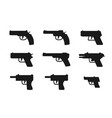 set of gun icon in silhouette style vector image vector image