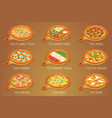 set of italian pizza on cutting board 9 item vector image vector image