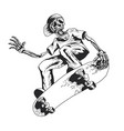 skeleton playing skateboard vector image vector image