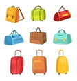 Suitcases And Other Baggage Bags Set Of Icons vector image vector image