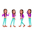teen girl poses set fun cheerful for web vector image vector image