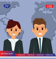 television breaking news with couple reporter tv vector image