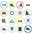 transportation icons set with road loose chipping vector image