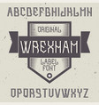 vintage label font named wrexham vector image vector image