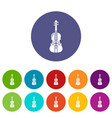 violine icons set color vector image