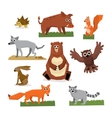 Wild Forest Animals Flat Style Set vector image vector image