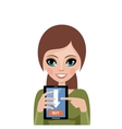 Woman advertizes mobile payment vector image vector image