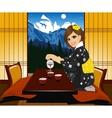 woman in kimono pouring tea vector image