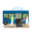 young woman helping disabled man in wheel chair vector image