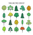 colored hand drawn tree icons vector image