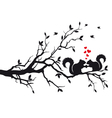 Squirrels on tree branch vector image