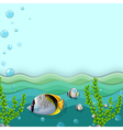 A sea with fishes and seaweeds vector image vector image