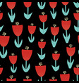 abstract red tulip flowers seamless pattern vector image