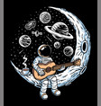 astronaut playing guitar on moon vector image vector image