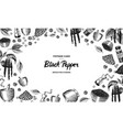 black pepper background in vintage style mortar vector image vector image