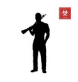 black silhouette of man with shotgun vector image vector image