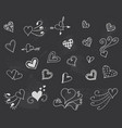 blackboard with hearts decoration romantic vector image vector image