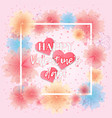 bright floral card with hearts for valentines day vector image vector image
