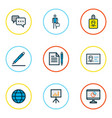 business icons colored line set with employee vector image
