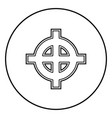 celtic cross white superiority icon outline black vector image vector image