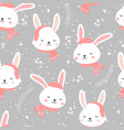 christmas seamless pattern with bunny background vector image
