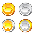 Coins with piggy bank sign vector image vector image