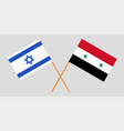 crossed syrian arab republic and israel flags vector image