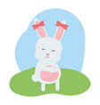 cute rabbit female in the field vector image