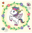 cute unicorn jumping inside a flower frame vector image