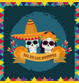 day dead couple skulls with hat vector image vector image