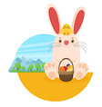easter bunny with chicken in flat style vector image vector image