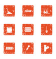excavate icons set grunge style vector image vector image