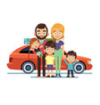 family car happy young parents father mother kids vector image vector image