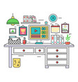 flat line design workplace desk creative office vector image vector image