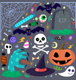 halloween elements set cartoon vector image