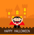 happy halloween count dracula head face wearing vector image vector image