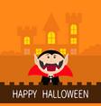 happy halloween count dracula head face wearing vector image