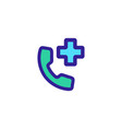 hospital phone icon isolated contour vector image vector image
