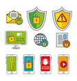 internet security icon set vector image